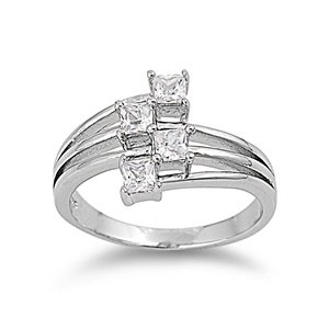 Sterling Silver Polished Engagement Promise Ring with Clear Cubic Zirconia Stones-size10