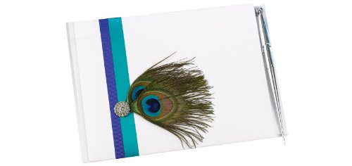Hortense B. Hewitt Wedding Accessories Guest Book With Pen, Peacock
