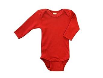 Baby Body langarm, Wolle Seide, Engel Natur, Gr. 110/116, Kirschrot