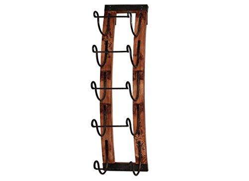 5-bottle Rustic Vineyard Aged Wood Slates Hanging Wine Rack (Hanging Wood Wine Rack compare prices)