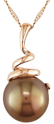14K Pink Gold 8-8.5mm Cultured Freshwater Chocolate Pearl Pendant