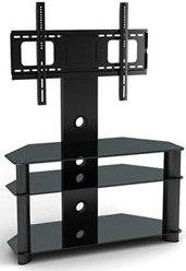 TV Stand, Black Glass with Black Legs Cantilever LCD Plasma TV Stand fits all 32