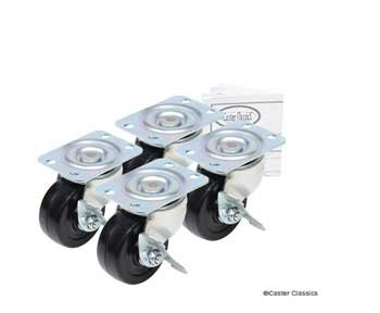 Caster Classics® 2-inch Locking Low Profile HD Rubber Wheel Plate Casters – 4-Pack