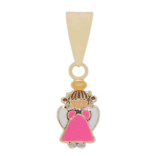 14k Yellow Gold, Mini Angel Design Religious Pendant Charm with Colorful Enamel Layer