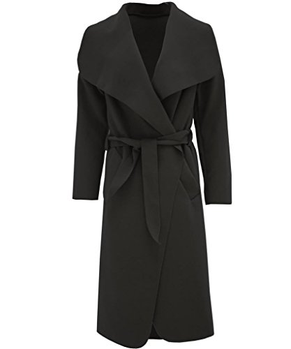 Womens Oversized Waterfall Front Long Belted Coat