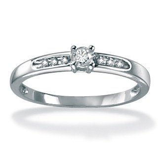 PalmBeach Jewelry Platinum over Sterling Silver Round Diamond Ring