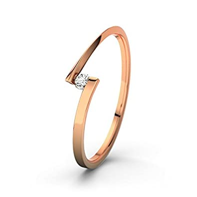 21DIAMONDS Women's Ring Lena 0.06 CT Brilliant Cut Diamond Engagement Ring 14ct Rose Gold Engagement Ring