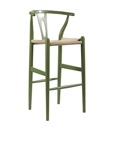 Baxton Studio Mid-Century Modern Wishbone Wood-Y Stool, Green As You See