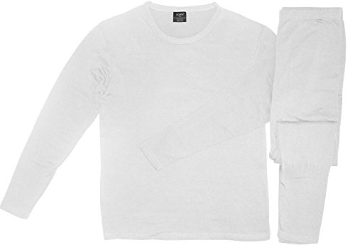 Comfort Fit Men's Microfiber Fleece Lined Thermal Top & Bottom Underwear Set, White, Large (Mens Thermals White compare prices)