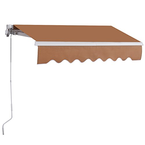 Goplus® Manual Retractable Awning Patio Canopy Deck Sunshade Shelter (13.1'X9.8', Beige) (Patio Retractable Sun Shade compare prices)