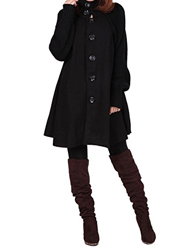 Yolee Women's Winter Fashion Woolen Loose Button Warm Trench Coat Maternity Coat Black XL/US16-18