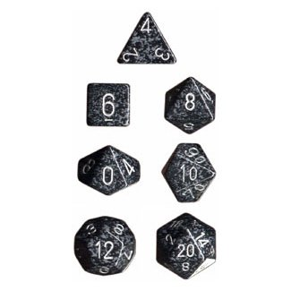 Chessex Dice: Polyhedral 7-Die Speckled Dice Set - Ninja