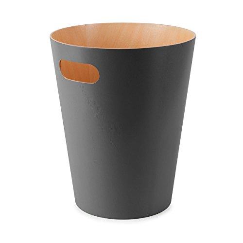Umbra 082780-618 Woodrow Abfalleimer aus Holz, Büromüll-/Designmüll-/Mülleimer, natur / dunkelgrau