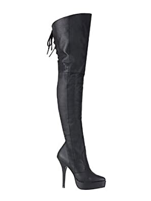 Black Leather Back Lace Up Thigh High Boot - 8