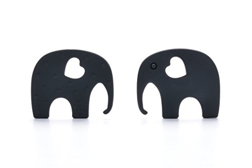 Consider It Maid Baby/Toddler Silicone Teething Necklace - Black - The Elephant Teether Toy Collection