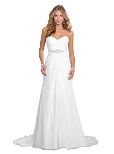 Dreambridal Simple A Line Chiffon Bride Wedding Dresses White,US 12