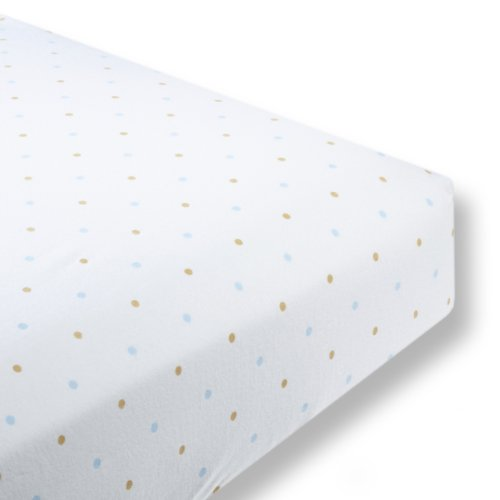 SwaddleDesigns Cotton Flannel Fitted Crib Sheet, Gold Little Dots, Pastel Blue