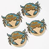 Crab Wine Coasters - Set of 4 Attachable Coasters