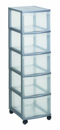 Rotho-Schubladenschrank-OPTIMO-Tower-flexibles-und-stabiles-Schubladensystem-mit-5-Schben-aus-Kunststoff-silbernes-Gehuse-und-transparente-Schubladen-ca-385-x-30-x-853-cm