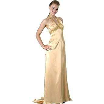 Formal Evening Gown. Gold Stretch Charmeuse Halter Dress for Prom, Party, Wedding by Sean Collection (8837 XL )