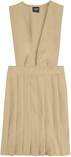 French Toast School Uniforms V-Neck Pleated Jumper Girls Khaki 2T front-270307