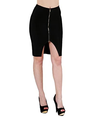 Wow Couture Women's Zip Front Skirt  [Black]