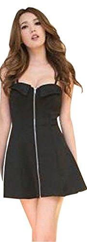 La Vogue-Donna Vestito Cotone Senza Manica Vestito con Cerniera Petto di 78-80cm Nero