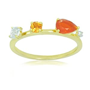 Sterling Silver with 14k Yellow Gold Plated Fire Opal, Orange Sapphire and White Topaz Ring, Size 7