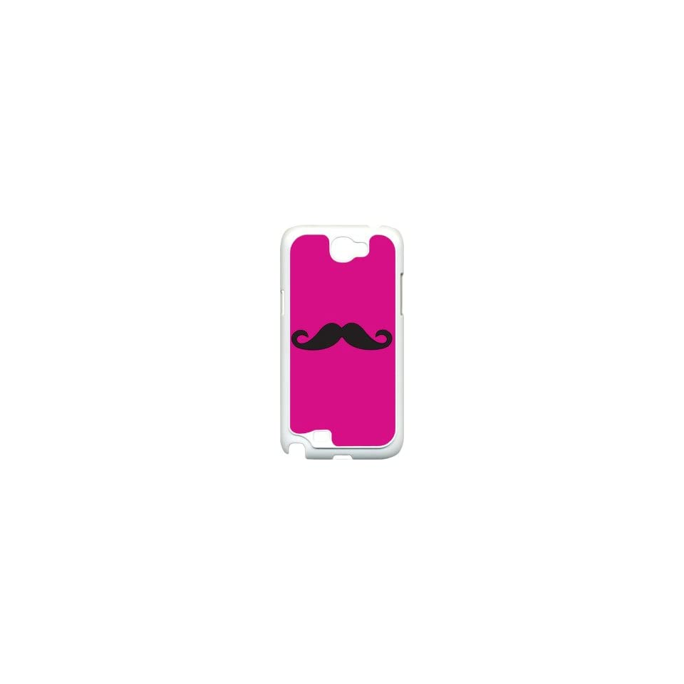 Plain Fuchsia Pink and Black Mustache Design on Samsung Galaxy Note II 2 White Hard Case Cover Cell Phones & Accessories
