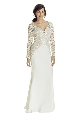 Crepe Long Sleeve Beaded Lace Plunge Neckline Wedding Dress Style SWG695,...