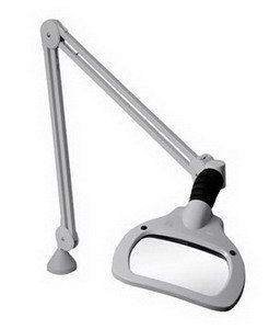 "Luxo Wave Led Magnifier, 30"" Arm, 3.5 Dio, Edge Clamp, Grey"