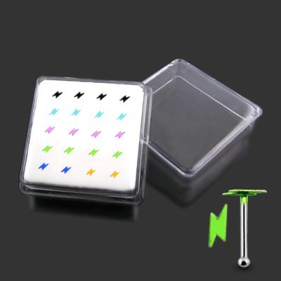 Piercingworld 20 Pcs Mix Color Hand Painted Flat Thunder 22Gx1/4 (0.6x6mm) 925 Sterling Silver Ball End Nose Stud Pack in Acrylic Mini Box.