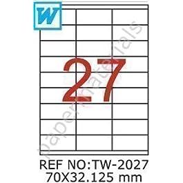 TANEX TW-2027 Etiquettes D'Adresse Blanches 70 x 32,125 mm - Carrées - 10 Feuilles A4