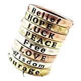 Retro Lettering Wish Ring Set for Daily and Festive Occasions (Love,Free,Hope,Peace....)