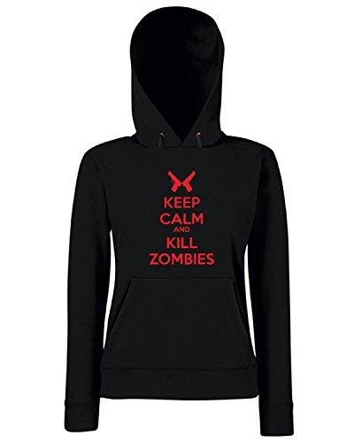 Cotton Island - Felpa Donna Cappuccio TZOM0041 keep calm and kill zombies , Taglia M