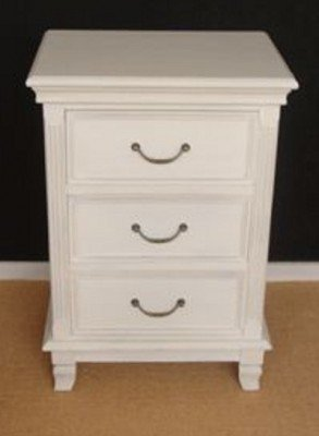 Casa Padrino chest of 3 drawers, country-style square white shabby chic - bedside table - bedside table - country style