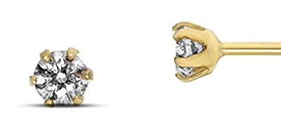 18ct Yellow Gold natural round brilliant cut diamond stud earrings - 0.10ct total