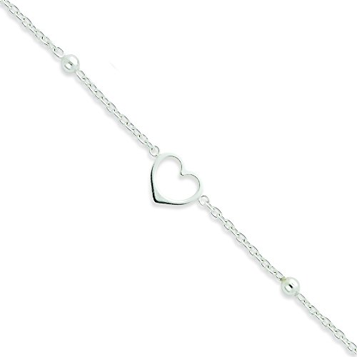 Sterling Silver Heart Anklet with 1 in Ext: Length 10 in
