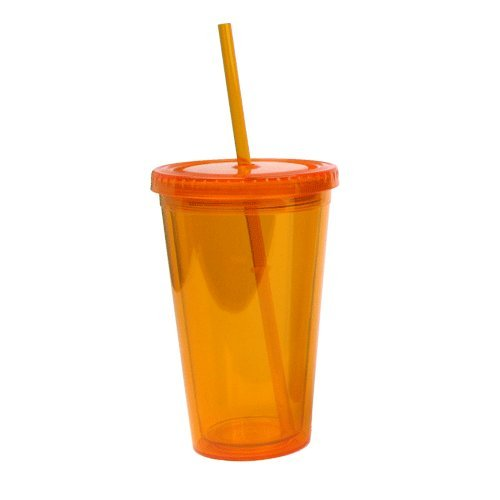 Eco To Go Cold Drink Tumbler - Double Wall -16Oz. Capacity - Orange front-610408