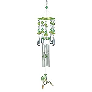 Gifts & Decor Leafy Green Hummingbirds Acrylic and Metal Wind Chime (Discontinued by Manufacturer)