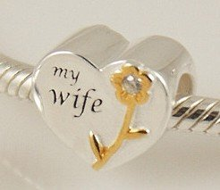My Wife Heart - Gold Plated & Sterling Silver Charm Bead - fits Pandora, Chamilia etc style Bracelets - SpangleBead