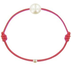 Les Poulettes Jewels - Childrens Bracelet - My First Pearl- Red Waxed Cord Bracelet - White Freshwater Pearl 6-7 mm