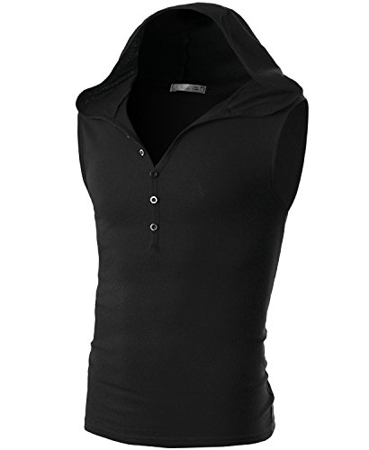 Ohoo Mens Slim Fit Hooded Sleeveless Hoodie Henley Button Ribbed Tank Top /DCT008-BLACK-M