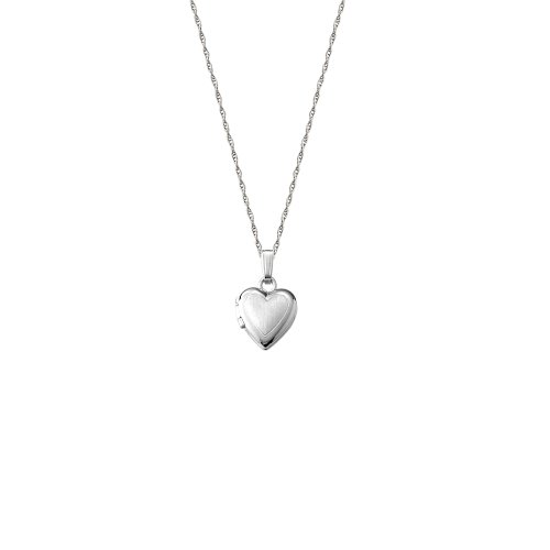 14k White Gold Children's Satin and Polished Heart Locket Necklace, 13
