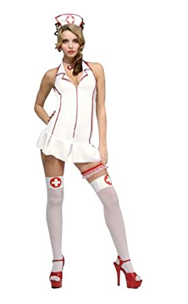 Secret Wishes Women's Er Nurse Adult Costume Mini Dress, White/Red, Small