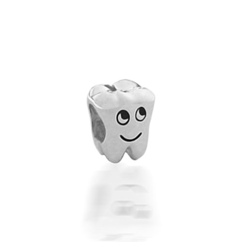 Bling Jewelry Smiling Tooth 925 Sterling Silver Charm Bead Pandora Oriana Compatible