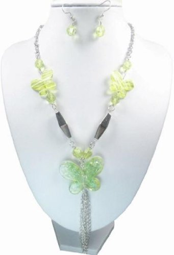 Green Bead and Butterfly Long Necklace and earring set, silver tone chain