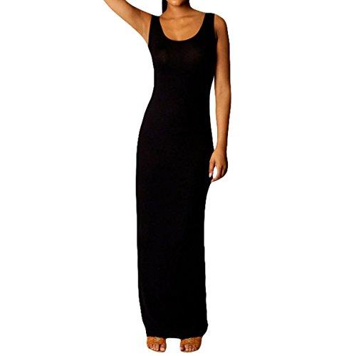 FOUNDO Womens Solid Racerback Long Shift Maxi Dresses (Medium, Black) (Tank Maxi Dresses For Women compare prices)
