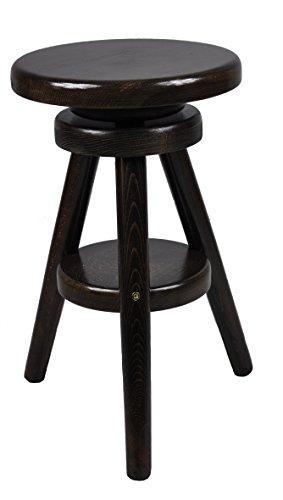 Hocker-Massiv-Schemel-Stuhl-Sitz-Sitzmbel-Buche-Drehhocker-Barhocke-52-70cm-Nussbaum