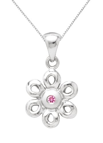 Sterling Silver Pink Sapphire Daisy Pendant Necklace
